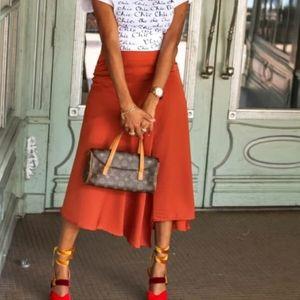 Satin Scarf Hem Midi Skirt